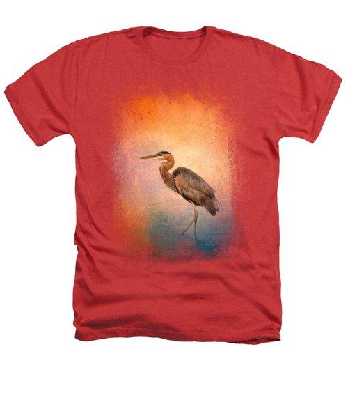 Sunset Heron Heathers T-Shirt by Jai Johnson