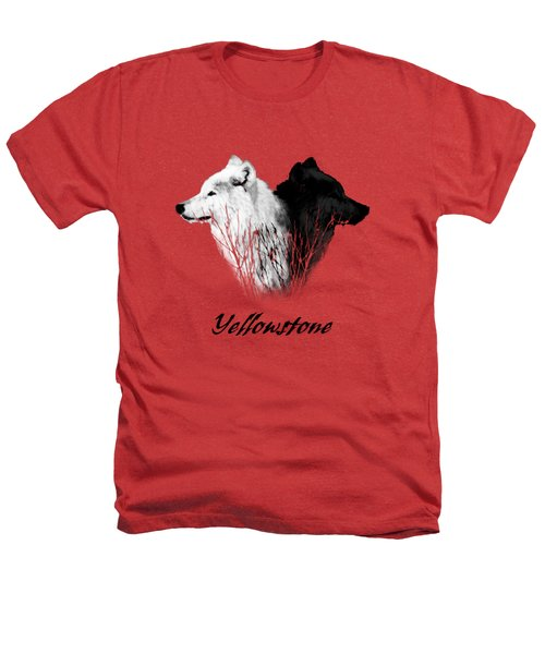 Yellowstone Wolves T-shirt Heathers T-Shirt by Max Waugh