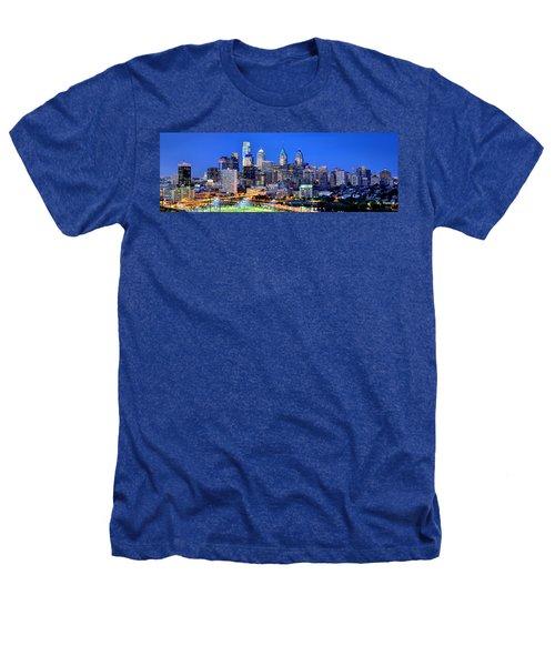Philadelphia Skyline At Night Evening Panorama Heathers T-Shirt by Jon Holiday
