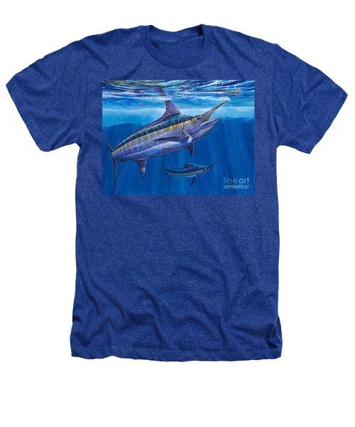 Blue Marlin Bite Off001 Heathers T-Shirt by Carey Chen