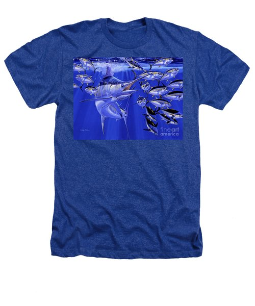 Blue Marlin Round Up Off0031 Heathers T-Shirt by Carey Chen