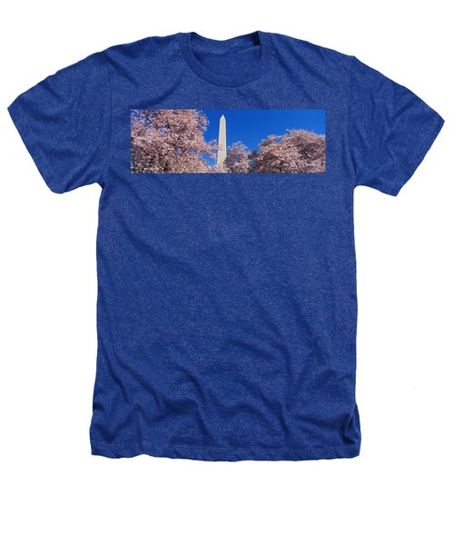 Cherry Blossoms Washington Monument Heathers T-Shirt by Panoramic Images