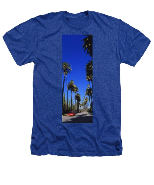 Palm Trees Along A Road, Beverly Hills Heathers T-Shirt by Panoramic Images