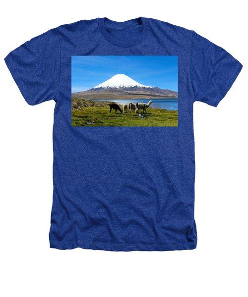 Parinacota Volcano Lake Chungara Chile Heathers T-Shirt by Kurt Van Wagner