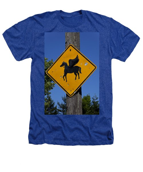 Pegasus Road Sign Heathers T-Shirt by Garry Gay