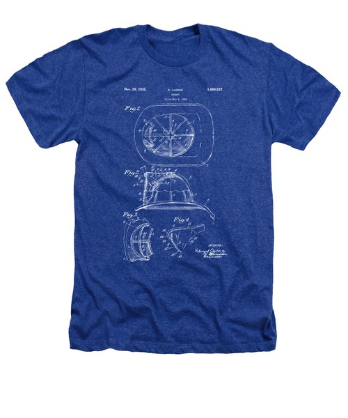 1932 Fireman Helmet Artwork Blueprint Heathers T-Shirt by Nikki Marie Smith