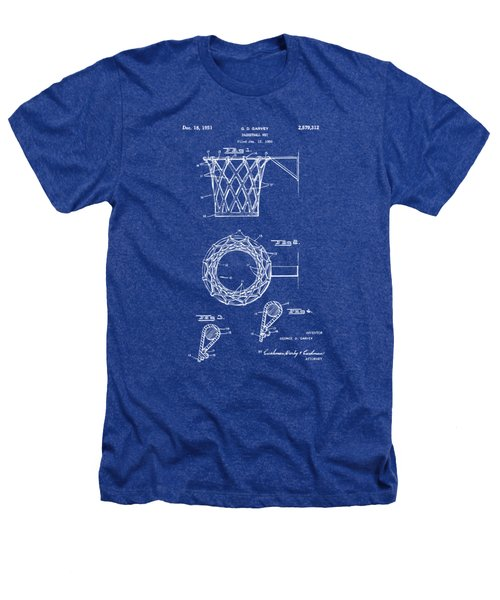 1951 Basketball Net Patent Artwork - Blueprint Heathers T-Shirt by Nikki Marie Smith
