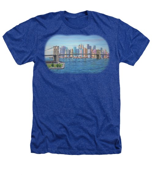 New York Brooklyn Bridge Heathers T-Shirt by Renato Maltasic