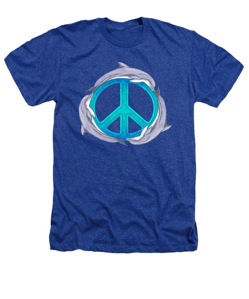 Dolphin Peace Heathers T-Shirt by Chris MacDonald