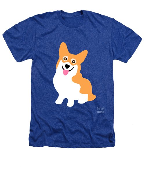 Smiling Corgi Pup Heathers T-Shirt by Antique Images