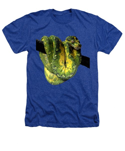 Green Tree Python 2 Heathers T-Shirt by Alondra Hanley