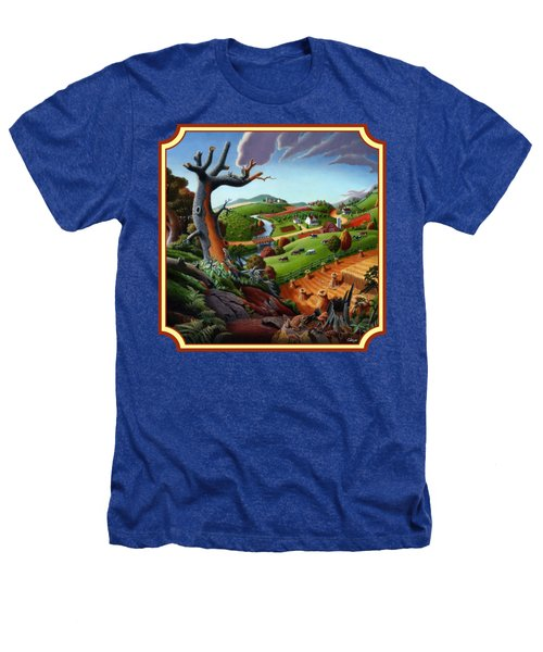 Autumn Wheat Harvest Country Farm Life Landscape - Square Format Heathers T-Shirt by Walt Curlee