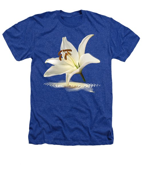 Blue Horizons - White Lily Heathers T-Shirt by Gill Billington