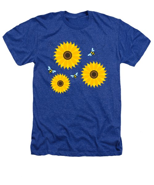Busy Bees And Sunflowers - Large Heathers T-Shirt by Shara Lee