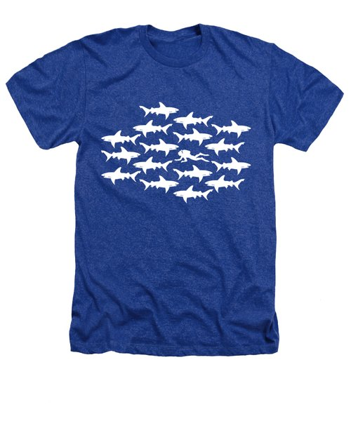 Diver Swimming With Sharks Heathers T-Shirt by Antique Images