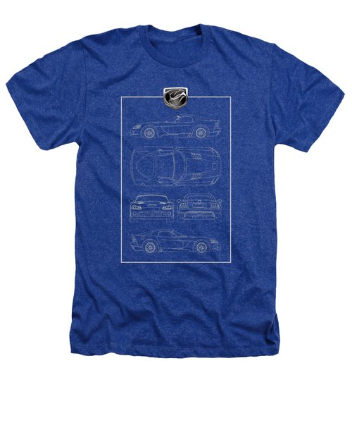 Dodge Viper  S R T 10  Blueprint With Dodge Viper  3 D  Badge Over Heathers T-Shirt by Serge Averbukh