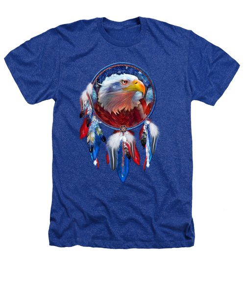 Dream Catcher - Eagle Red White Blue Heathers T-Shirt by Carol Cavalaris
