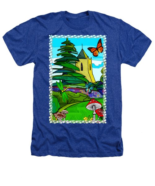 English Garden Whimsical Folk Art Heathers T-Shirt by Sharon and Renee Lozen