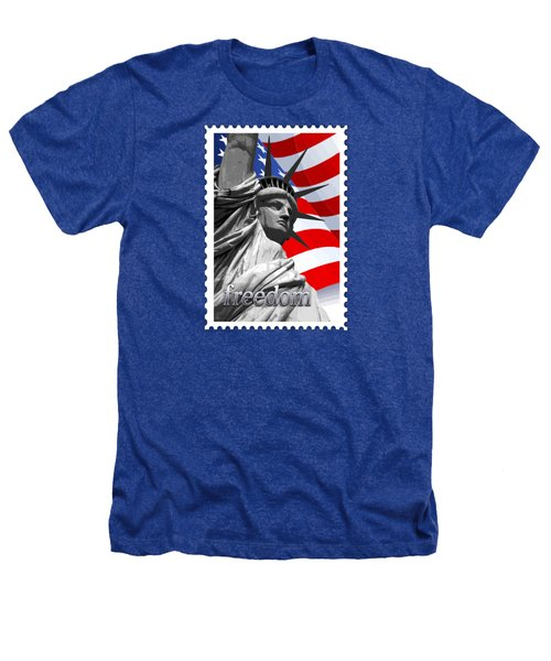 Graphic Statue Of Liberty With American Flag Text Freedom Heathers T-Shirt by Elaine Plesser
