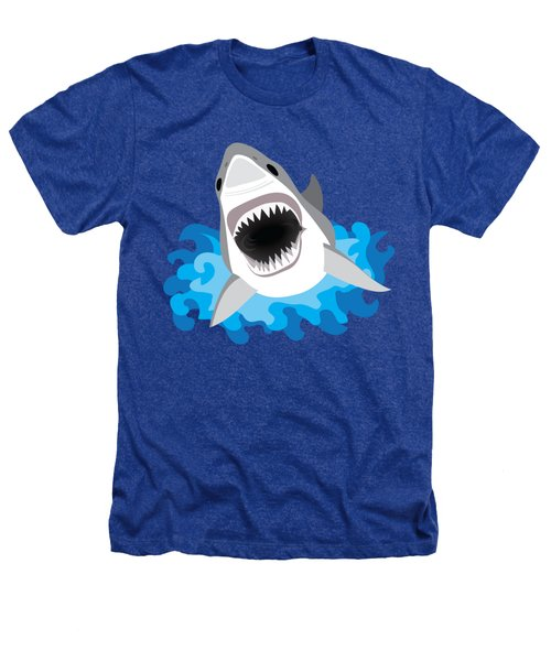 Great White Shark Leaps From Waves Heathers T-Shirt by Antique Images