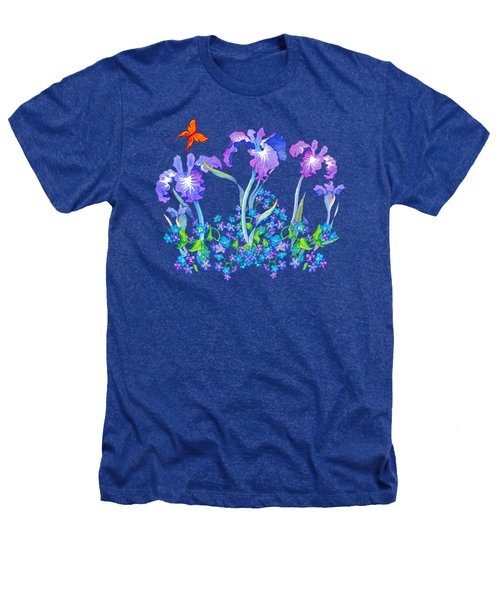 Iris Bouquet With Forget Me Nots Heathers T-Shirt by Teresa Ascone