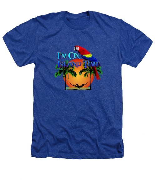 Island Time And Parrot Heathers T-Shirt by Chris MacDonald