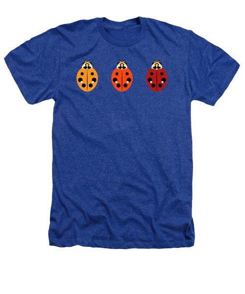 Ladybug Trio Horizontal Heathers T-Shirt by MM Anderson