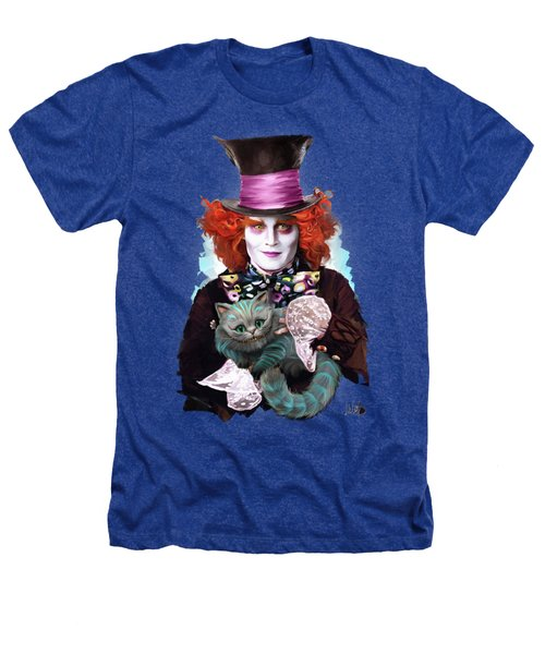 Mad Hatter And Cheshire Cat Heathers T-Shirt by Melanie D