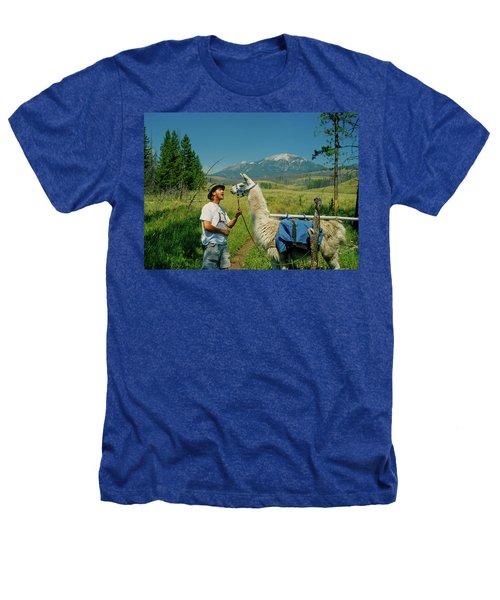Man Teasing A Llama Heathers T-Shirt by Jerry Voss
