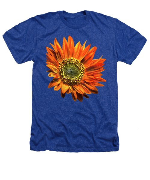 Orange Sunflower Heathers T-Shirt by Christina Rollo