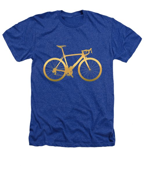 Road Bike Silhouette - Gold On Beige Canvas Heathers T-Shirt by Serge Averbukh