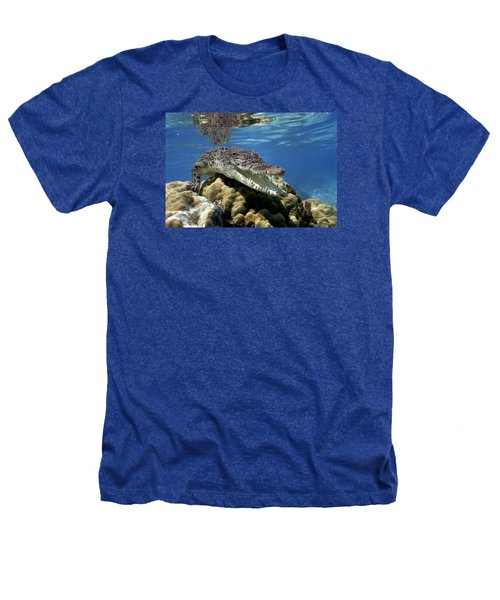 Saltwater Crocodile Smile Heathers T-Shirt by Mike Parry