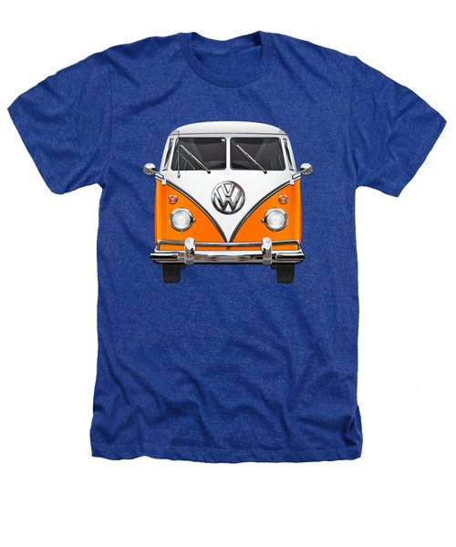 Volkswagen Type - Orange And White Volkswagen T 1 Samba Bus Over Blue Canvas Heathers T-Shirt by Serge Averbukh