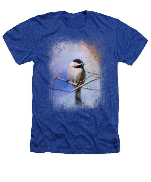 Winter Morning Chickadee Heathers T-Shirt by Jai Johnson