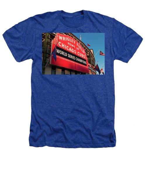Wrigley Field World Series Marquee Angle Heathers T-Shirt by Steve Gadomski