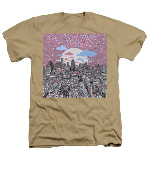 Austin Texas Abstract Panorama 3 Heathers T-Shirt by Bekim Art
