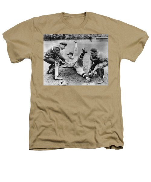 Babe Ruth Slides Home Heathers T-Shirt by Underwood Archives