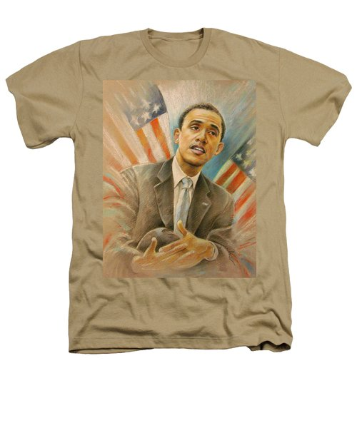 Barack Obama Taking It Easy Heathers T-Shirt by Miki De Goodaboom