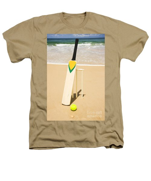 Bat Ball And Stumps Heathers T-Shirt by Jorgo Photography - Wall Art Gallery