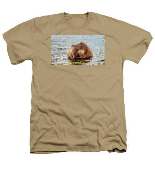 Beaver Portrait On Canvas Heathers T-Shirt by Dan Sproul