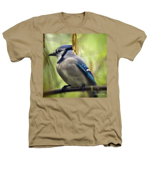 Blue Jay On A Misty Spring Day - Square Format Heathers T-Shirt by Lois Bryan