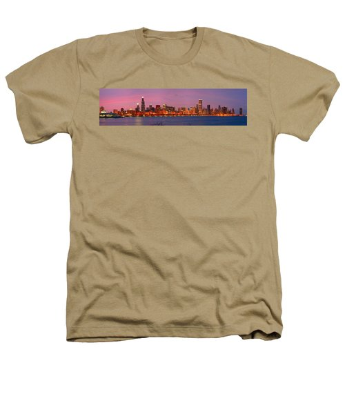 Chicago Skyline At Dusk 2008 Panorama Heathers T-Shirt by Jon Holiday