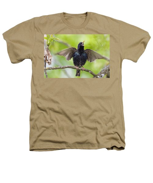 Common Starling Singing Bavaria Heathers T-Shirt by Konrad Wothe