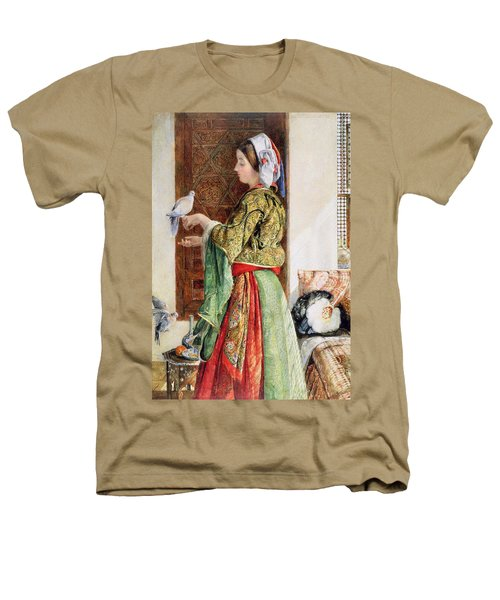 Girl With Two Caged Doves, Cairo, 1864 Heathers T-Shirt by John Frederick Lewis