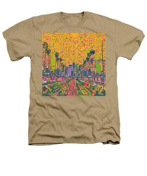Los Angeles Skyline Abstract Heathers T-Shirt by Bekim Art