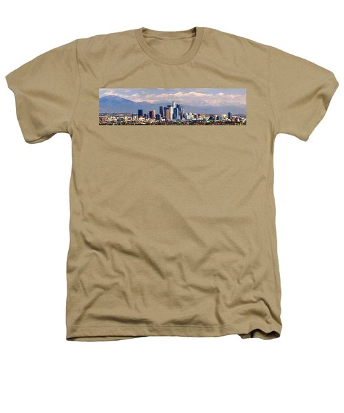 Los Angeles Skyline With Mountains In Background Heathers T-Shirt by Jon Holiday