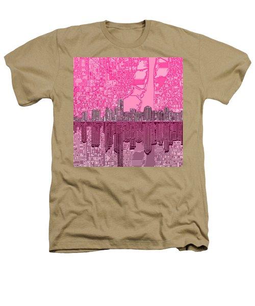 Miami Skyline Abstract 4 Heathers T-Shirt by Bekim Art