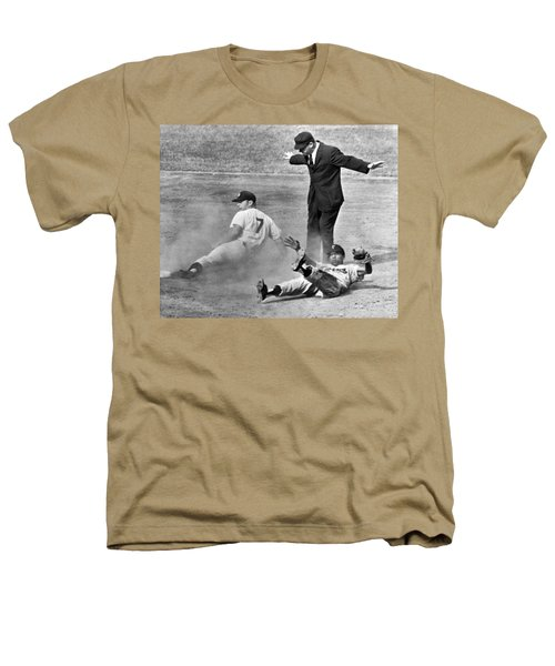 Mickey Mantle Steals Second Heathers T-Shirt by Underwood Archives