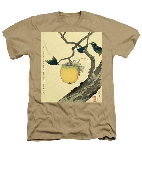 Moon Persimmon And Grasshopper Heathers T-Shirt by Katsushika Hokusai