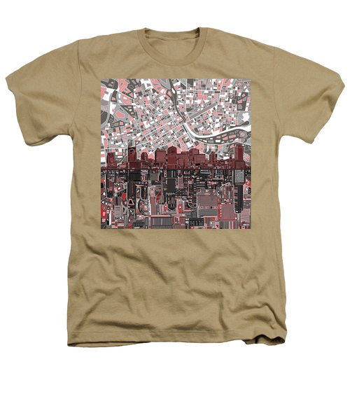 Nashville Skyline Abstract 3 Heathers T-Shirt by Bekim Art